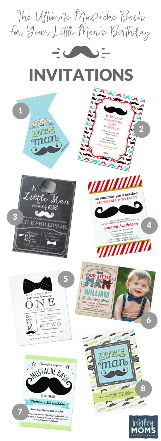 8 Mustache Bash Invites - MightyMoms.club