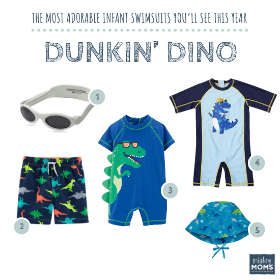 Infant Swimsuits: Dunkin' Dino Collection - MightyMoms.club