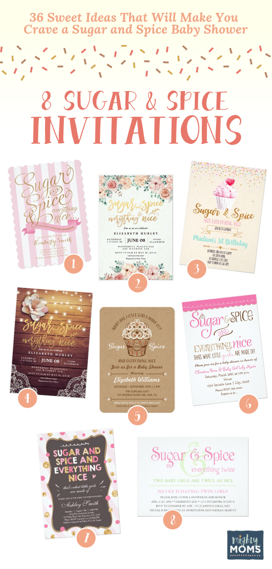 Sugar and spice baby shower invitation ideas - MightyMoms.club