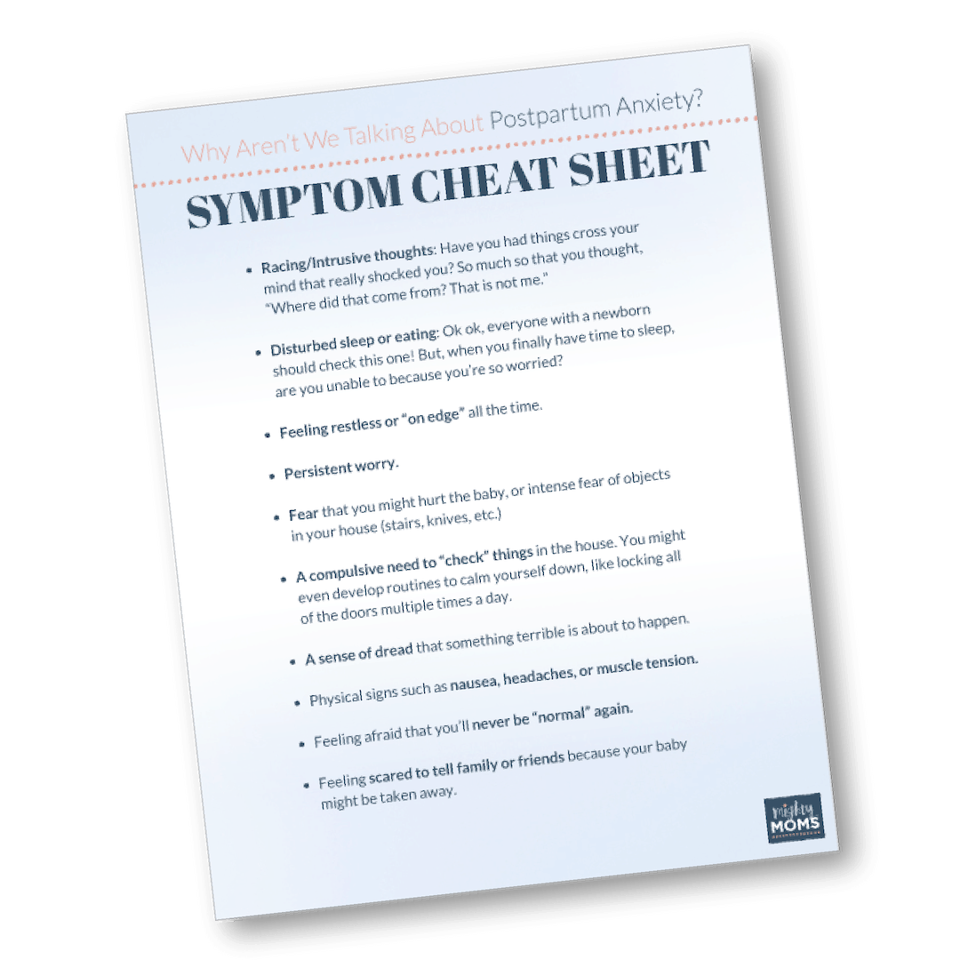 Download your free postpartum anxiety symptom checklist. | MightyMoms.club