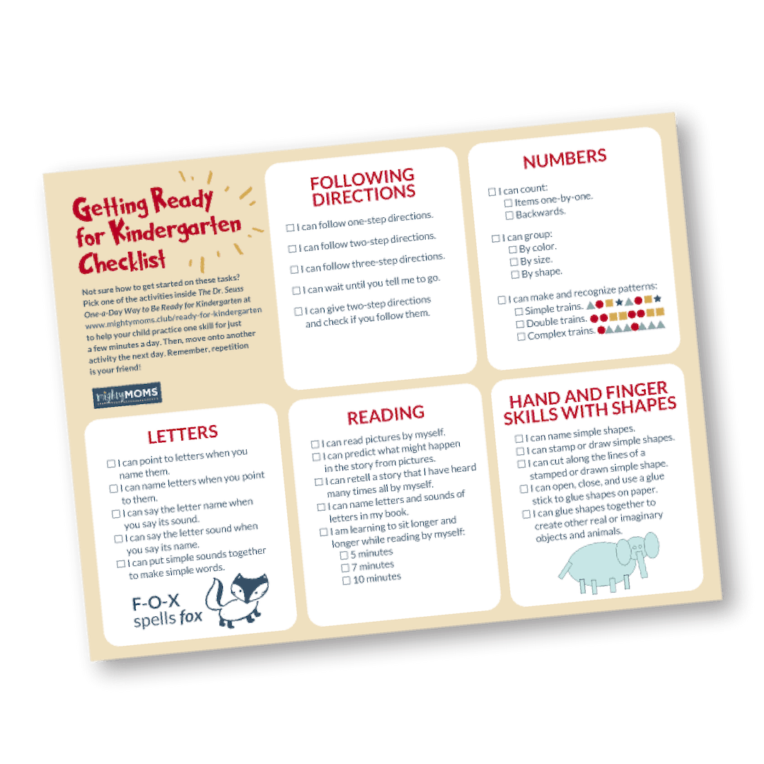 Use this free printable to help get your child ready for kindergarten! MightyMoms.club