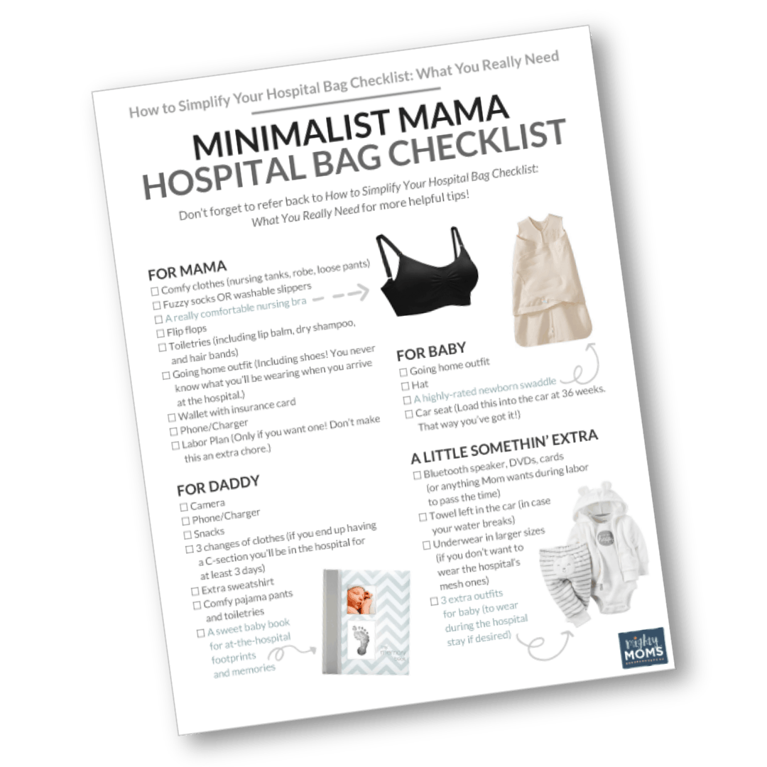 This free hospital bag checklist will tell you EXACTLY what to bring to the maternity ward! MightyMoms.club