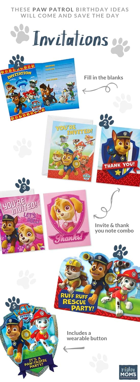 Paw Patrol Birthday Party invitation ideas - MightyMoms.club