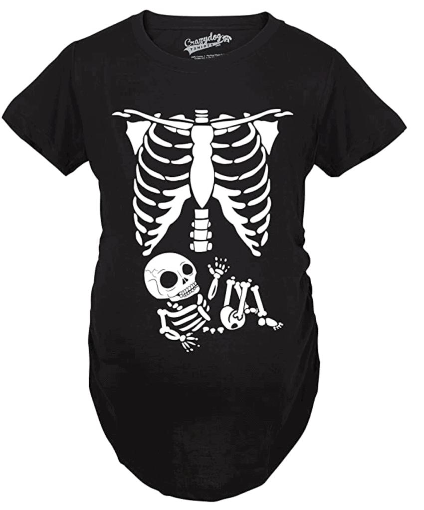 Skeleton Maternity Halloween Shirt
